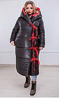 Куртка- одеяло длинная зимняя женская Черный Большого размера