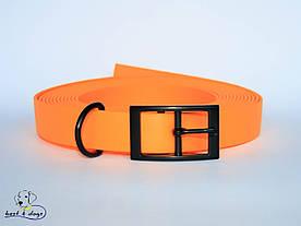 Ошейник из биотана, Оранжевый Пастельный, 19мм(черная пряжка)