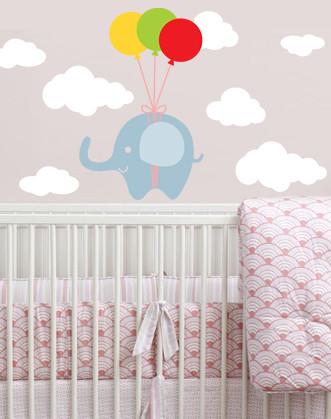 """Наклейка дитяча на шпалери """"Слон в хмарах"""""""