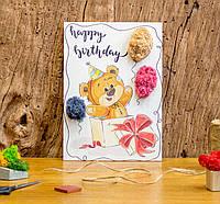 Подарок ко Дню Рождения. Картина с натуральным мхом, Мишка .