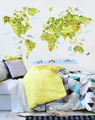 """Вінілова наклейка на шпалери """"Дитяча карта світу"""""""