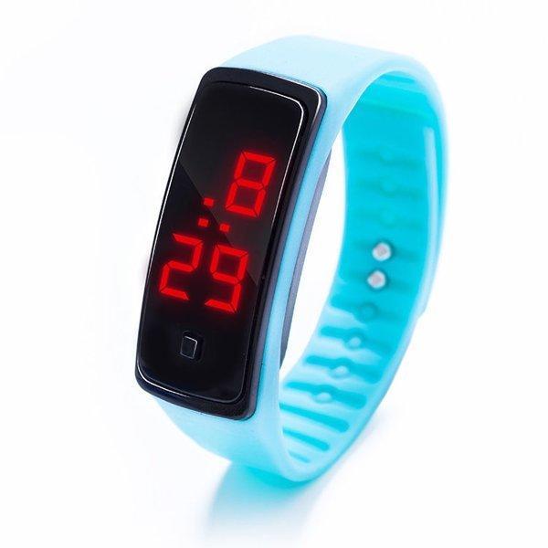 Наручний LED 555 годинник браслет блакитний