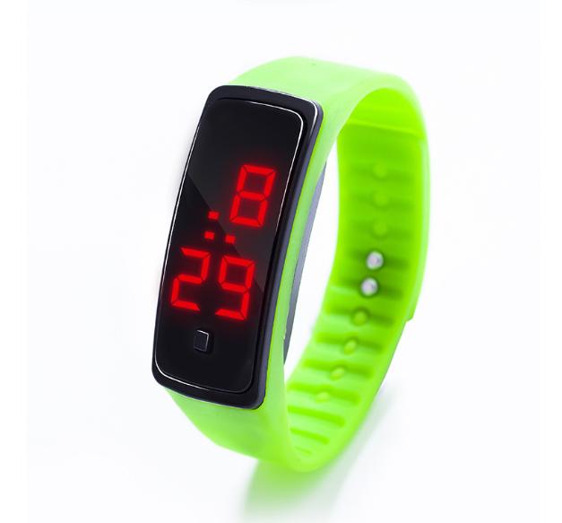 Наручний LED 555 годинник браслет салатовий