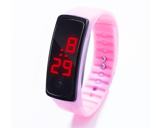 Наручные LED 555 часы браслет светло-розовый