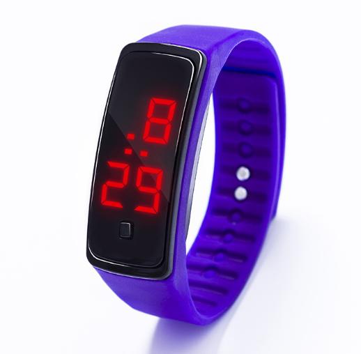 Наручний LED 555 годинник браслет фіолетовий