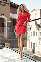 Яркое платье-пиджак по фигуре короткое