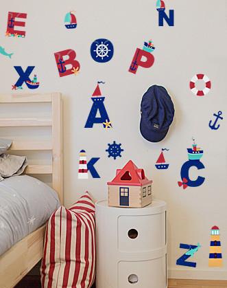 """Дитячі морські наклейки на стіни """"Морський алфавіт"""""""
