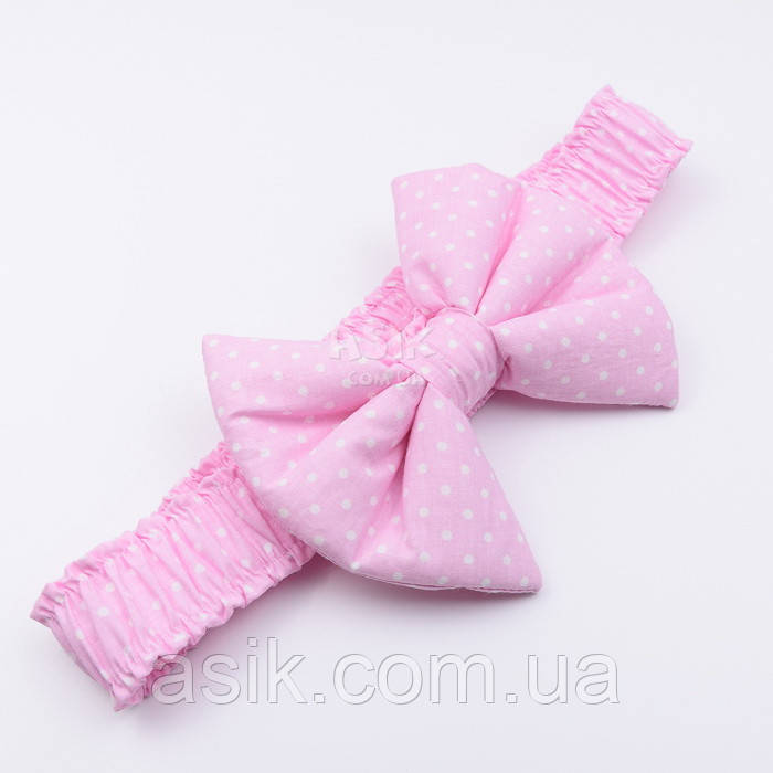 Гумка з бантом для конверта на виписку з пологового будинку, з бавовни (горошок на рожевому)