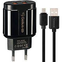 Сетевое зарядное устройство Gelius Pro Avangard GP-HC06 + USB кабель MicroUSB (2.4A),Черное