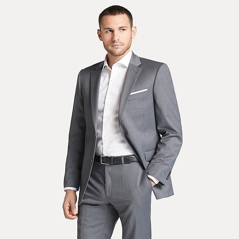 Шикарный классический серый мужской костюм натуральная шерсть Tommy Hilfiger (Размер L)  Оригинал