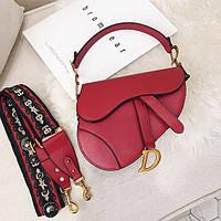 Женская маленькая седельная сумка пистолет в стиле Диор красная