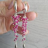 Серьги серебряные с натуральным рубином, фото 4