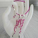 Серьги серебряные с натуральным рубином, фото 3