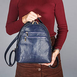Рюкзак синій шкіряний жіночий. колір шкіри можна будь-який. Виробник Україна