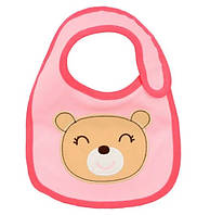 Слюнявчик  Мишка розовый