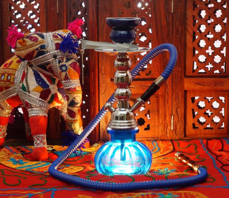Кальян со стеклянной колбой синий