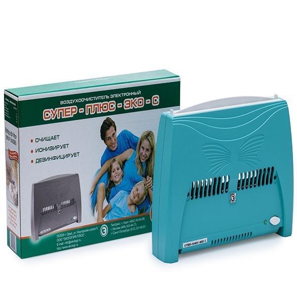Воздухоочиститель (ионизатор воздуха) Супер Плюс ЭКО-С Зеленый - до 20 кв.м.