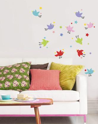 """Дитяча наклейка на стіну """"Різнокольорові пташки"""""""