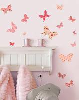 """Наклейки в дитячу кімнату дівчинки """"Рожеві метелики"""""""