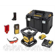 Лазер ротационный аккумуляторный DeWALT DCE074D1R красный луч,до 100м,крепление на стену , лучеуловитель, очки