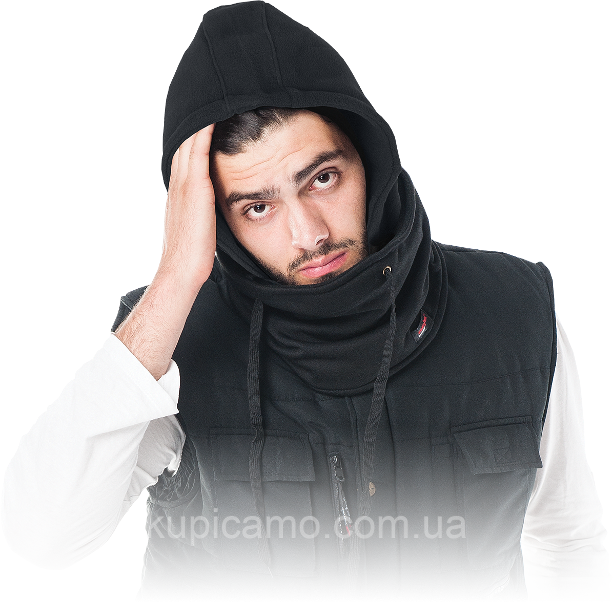 Защитный капюшон с воротником CZHOOD  черный (Балаклава)