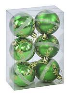 Ёлочная игрушка Шары 6 см, 6 штук (зеленые)