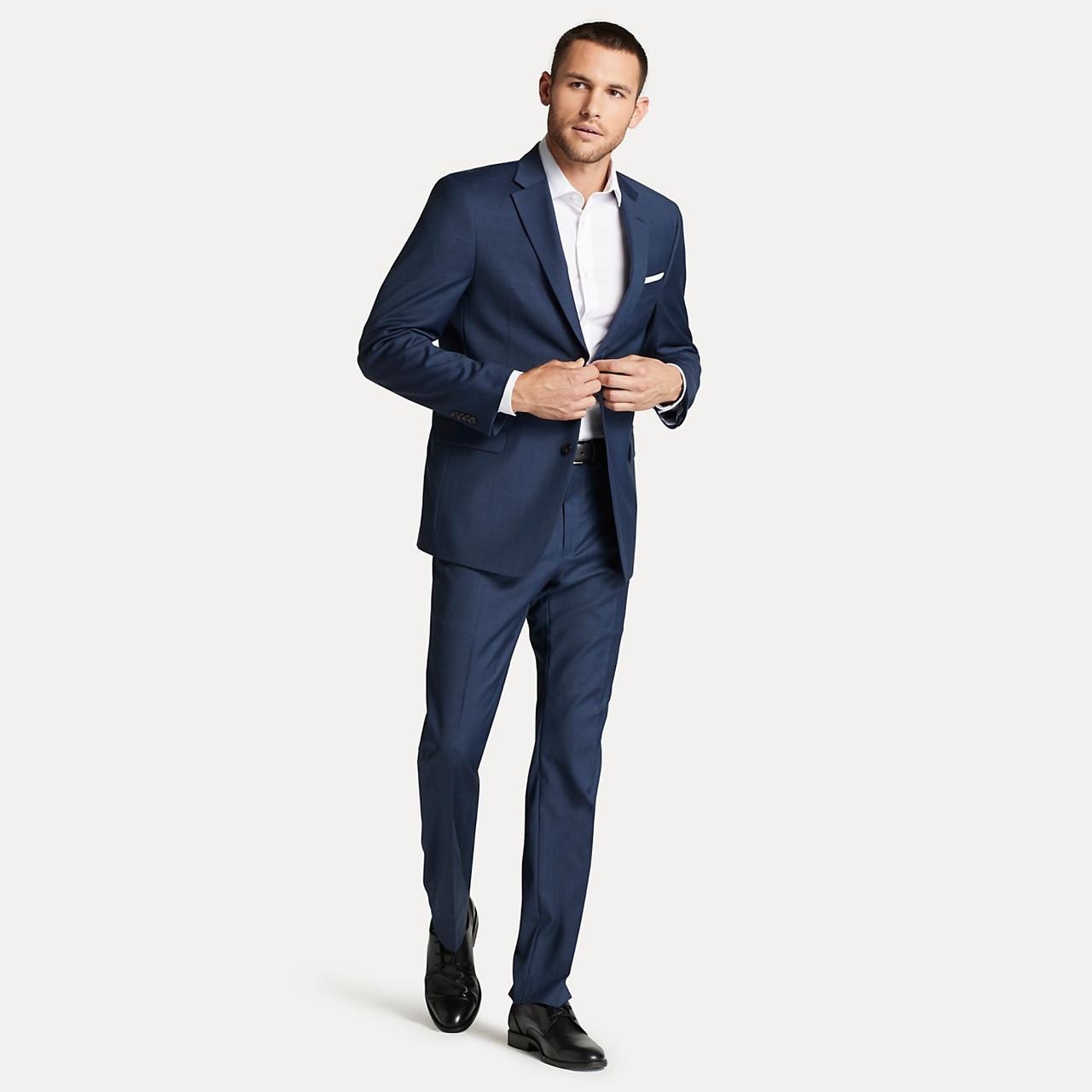 Шикарный классический темно синий мужской костюм натуральная шерсть Tommy Hilfiger Оригинал (Размер 48)