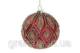 Ёлочные шары 10см, цвет - красный гренадин (6шт)