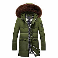 Куртка мужская зима-осень, зеленый пуховик с мехом, размер 48 (4XL), СС-7851-42