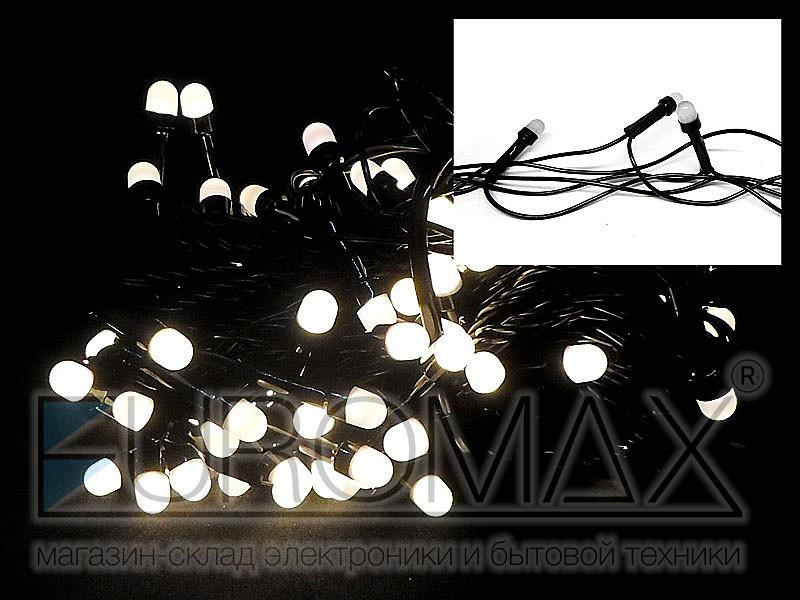 Гирлянда с черным проводом и круглой матовой лампой 100LED (теплый белый) 80шт LED100WW-10