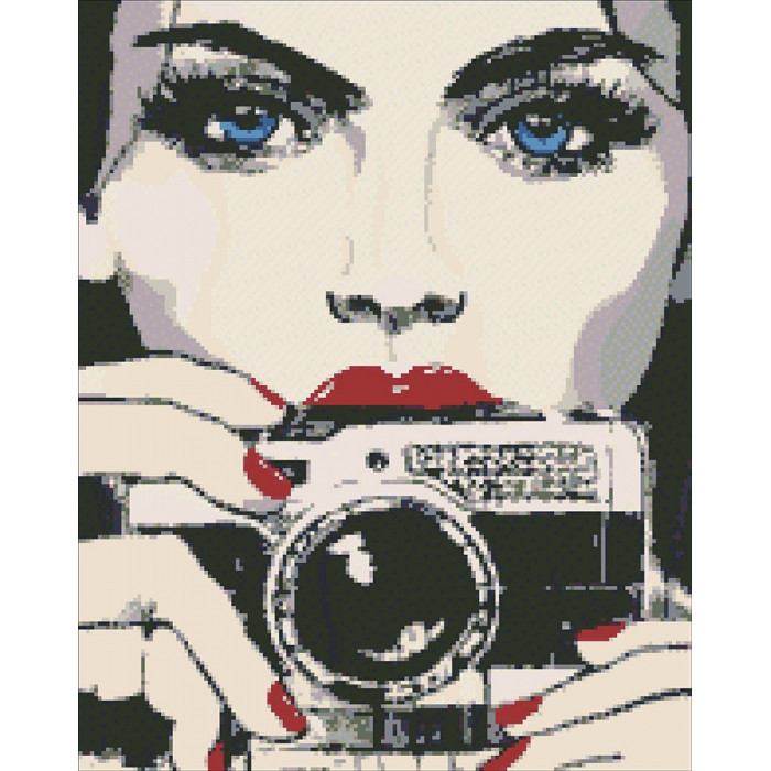 """Алмазная вышивка. """"Девушка с фотоаппаратом"""" 40*50 см. AM6015"""