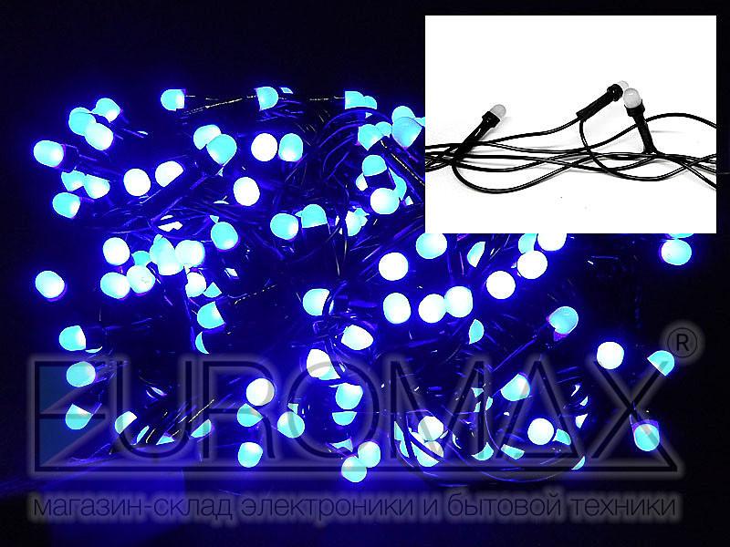 Гирлянда с черным проводом и круглой матовой лампой 300LED (синий) 40шт LED300B-10