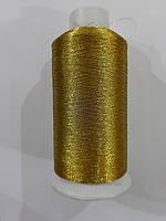 Нить вышивальная металлизированная 150D/1 3051 золото (боб 5000ярд/12боб/120боб)