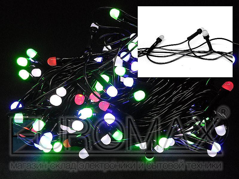 Гирлянда с черным проводом и круглой матовой лампой 300LED (микс) 40шт LED300M-10