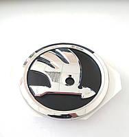 Эмблема Шкода Skoda черная с хромом нового образца Октавия Суперб Фабия Рапид Octavia A5 Tour SkodaMag