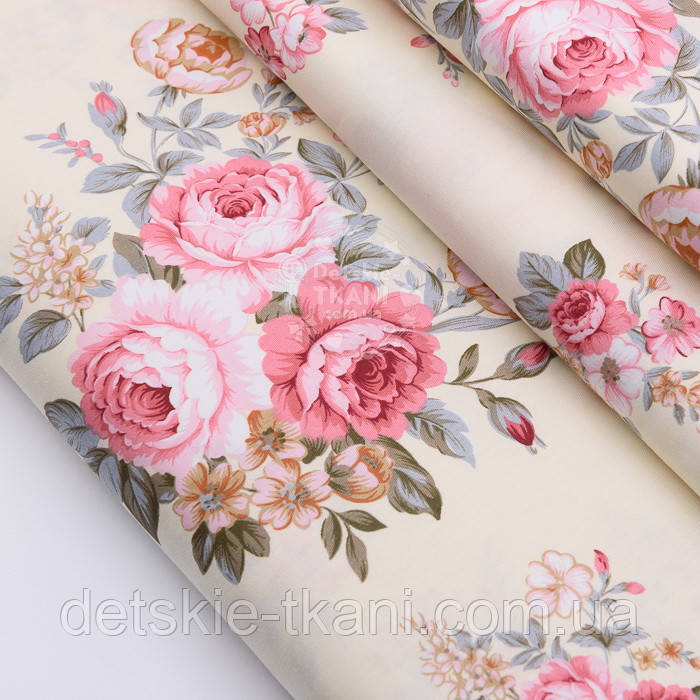 """Лоскут сатина """"Пудрово-розовые розы и гвоздика"""" на кремовом №2496с, размер 43*74 см"""