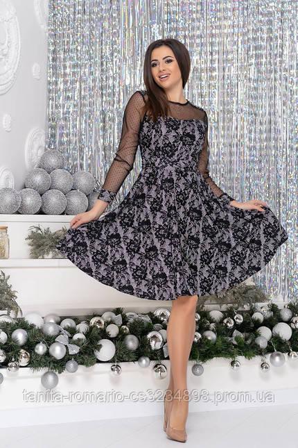 Коктейльное  9217 платье Чёрный/серебро