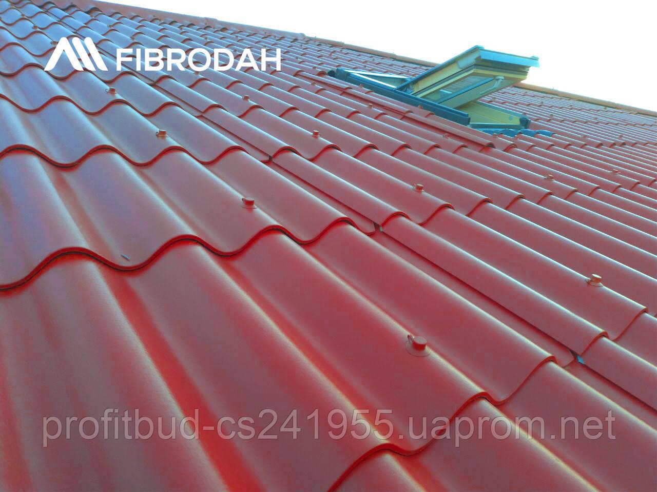 """Покрівля """"FIBRODAH"""" 1000 х 1130 мм (шифер Бордо)"""