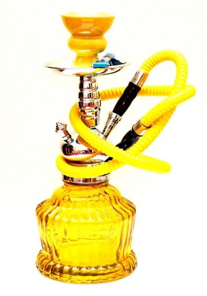 Кальян со стеклянной широкой колбой желтый