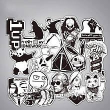 35шт. Чорно-білі наклейки, стікери на ноутбук, скутер , скейт, шолом, автомобіль (763524)