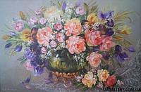 Картины художников. Живопись маслом цветы «Натюрморт Пионы и Ирисы»