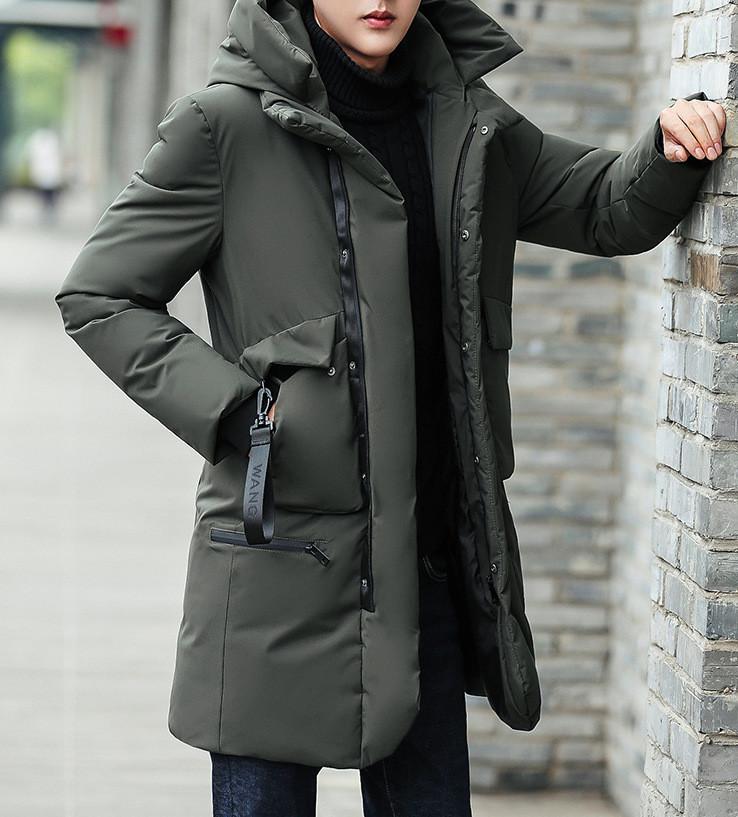 Куртка зимняя мужская, зеленый пуховик СС-7870-40