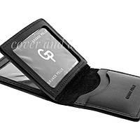 Кожаная обложка на ID паспорт и авто документы  с отделами для карт цвет черный Grande Pelle