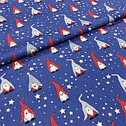 """Польская хлопковая ткань """"Новогодние гномы на синем"""""""