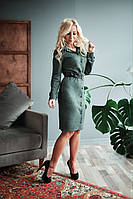 Платье-рубашка Кира замшевое цвета хаки
