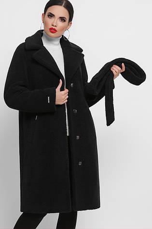 Черная женская шуба с поясом, фото 2