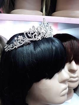 Серебряная большая корона тиара с белыми камнями горный хрусталь
