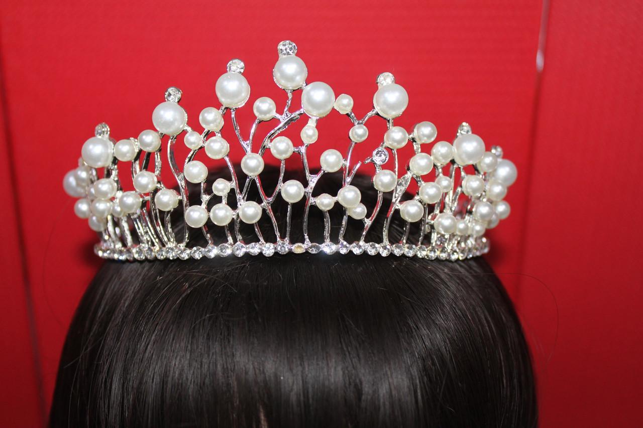 Красивая серебряная и золотая большая корона тиара с белыми камнями горный хрусталь жемчужинами праздничная