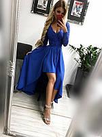 Платье женское Лиана синее вечернее ассиметричное с гипюровым рукавом, фото 1