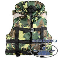 Страхувальний жилет (рятувальний жилет), 100-120 кг, з коміром, камуфляж, сертифікований